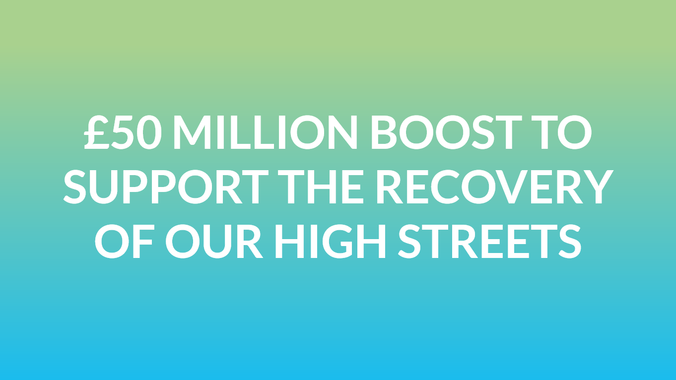 £50 million boost to support the recovery of our high streets